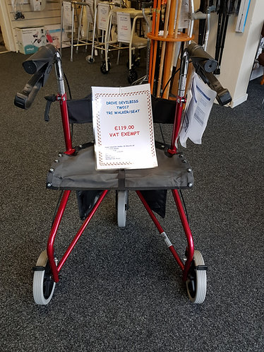 Tri-walker with seat.