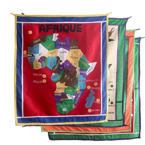 Patchwork carte Afrique 85 x 72 cm