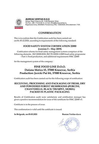 Confirmation of Certification FSSC Fine