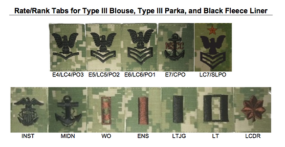 type 3 ranks officer: enlisted : instruc