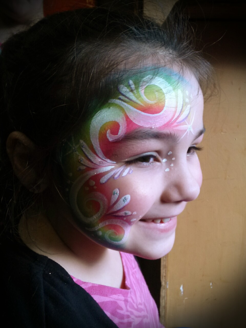 rainbow swirl facepaint