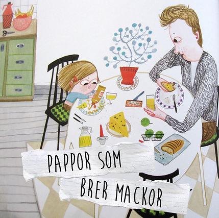 """Pappor som brer mackor. Bild ur """"Leni är ett sockerhjärta"""" av Emma Adbåge"""