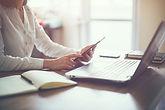 business woman hand working laptop compu