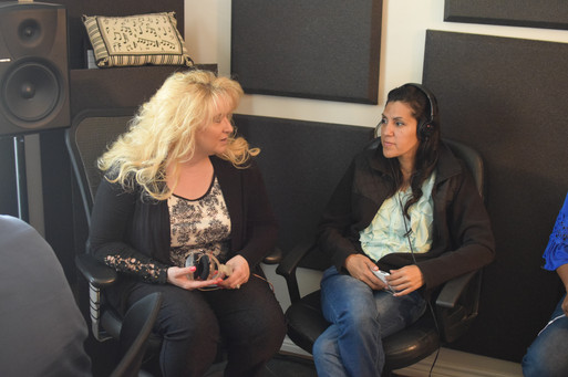 At the studio talking with my precious friend Artimesa and Mom to Wisdom, one of the very talented back up singers for The Bridegroom Cometh CD.
