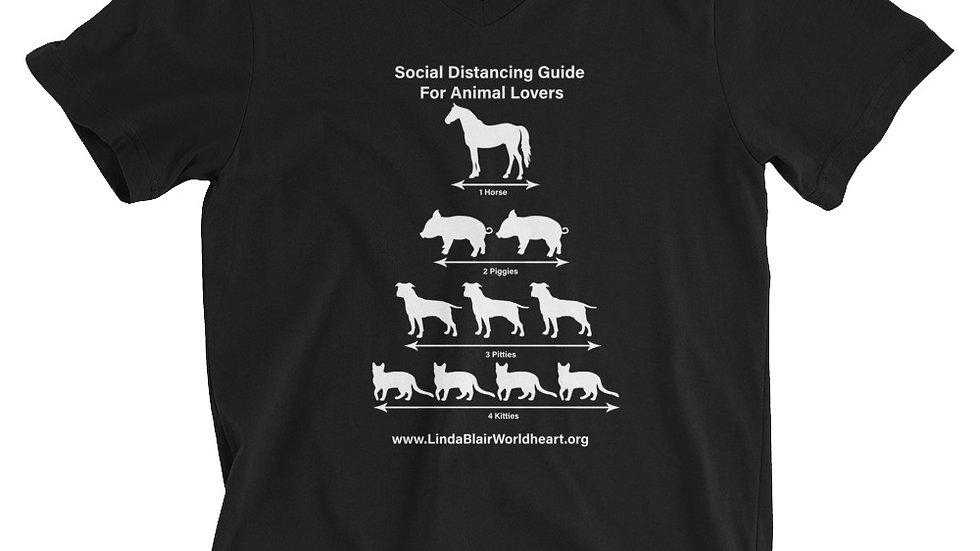 Social Distancing Guide For Animal Lovers Unisex Short Sleeve V-Neck T-Shirt
