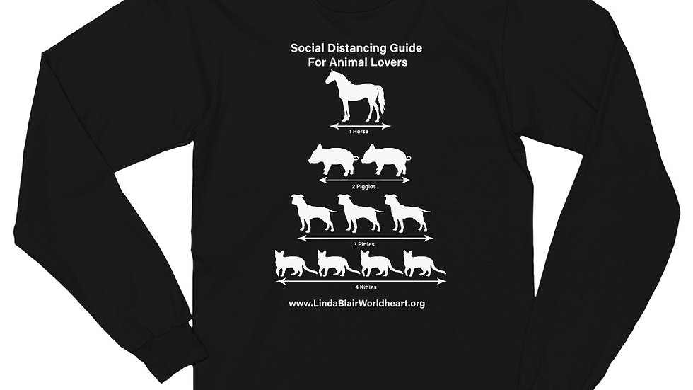 Social Distancing Guide For Animal Lovers Unisex Long sleeve t-shirt