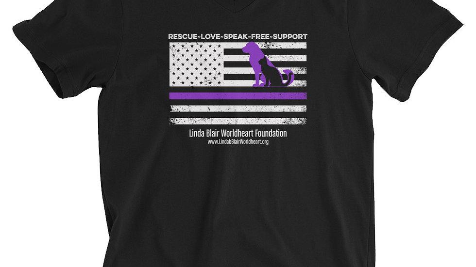 LBWF Purple Line Unisex Short Sleeve V-Neck T-Shirt