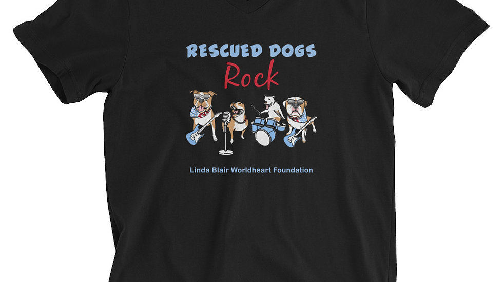 LBWF Rescued Dogs Rock Unisex Short Sleeve V-Neck T-Shirt