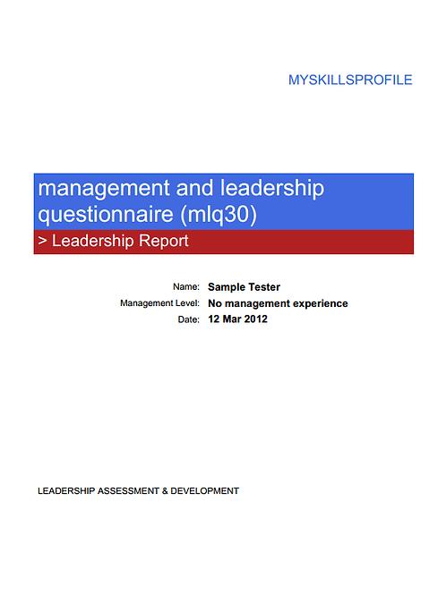 MANAGEMENT & LEADERSHIP QUESTIONNAIRE