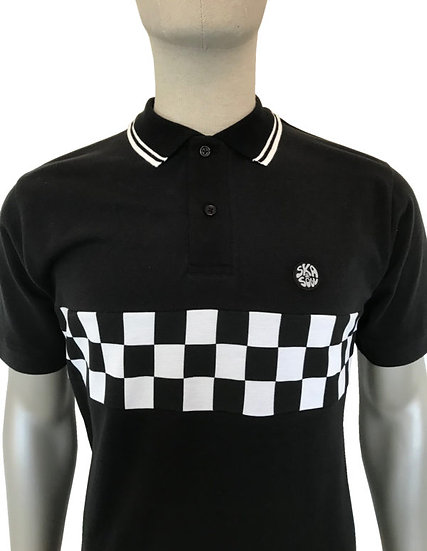 Chequerboard Panel Polo SS/2266 Black