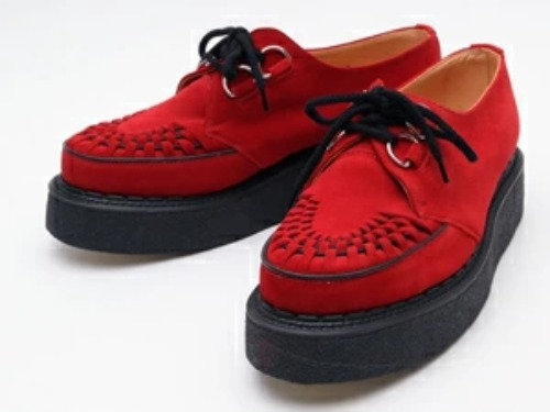 GEORGE COX 3588 Red Suede leather x black interlace