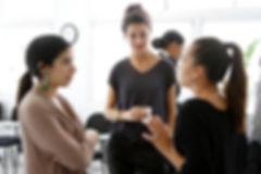 Three women networking