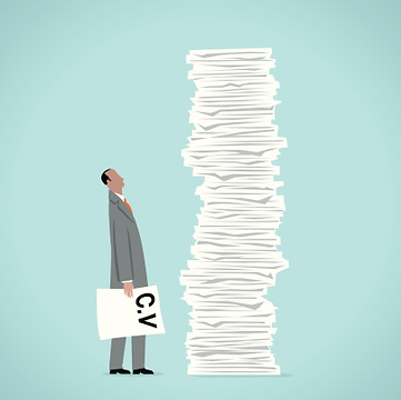 Drawing of Man with pile of CV