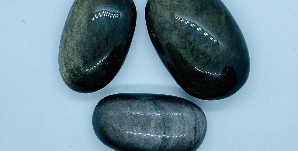 Golden Obsidian Palm Stone
