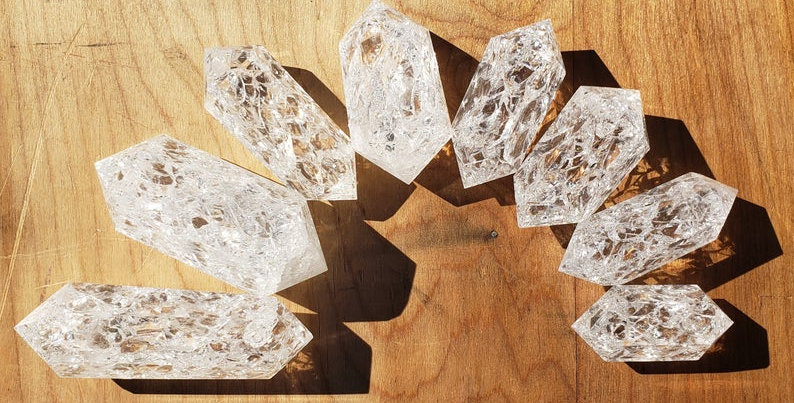 Fire and Ice double terminated Quartz Crystal (CRACKLE QUARTZ0