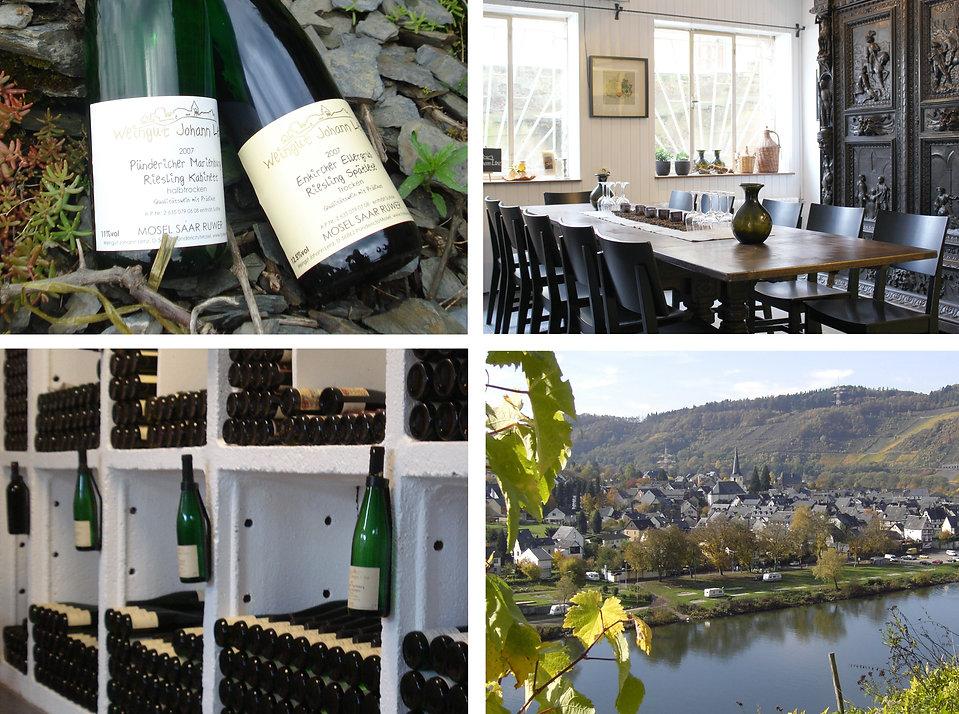 Unsere Riesling Prädikatsweine Kabinett und Spätlese, Vinothek, Flaschenlager, Blick auf Pünderich