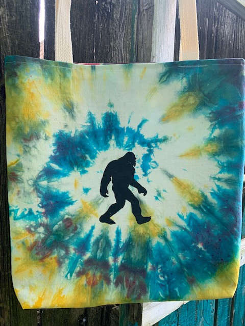 Tie Dye Bigfoot Tote Bag