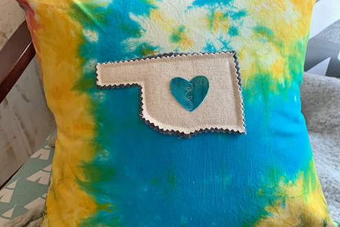state your love applique tie dye accent pillow