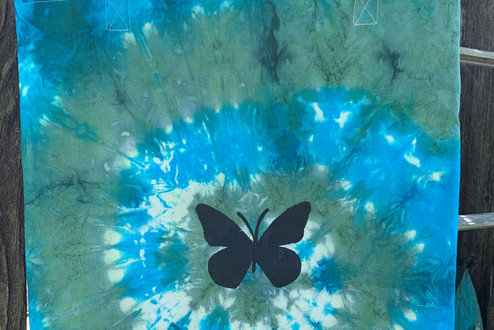 butterly tie dye tote bag