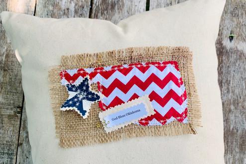 Oklahoma American Flag Applique Accent Pillow