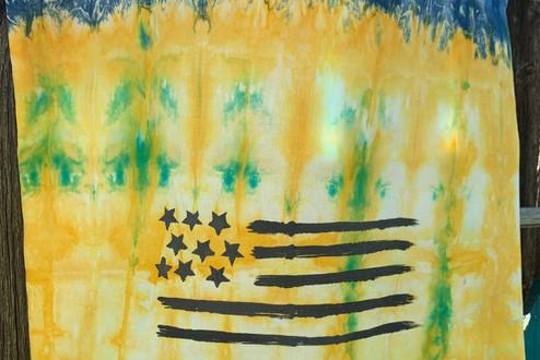 American Flag tie dye tote bag