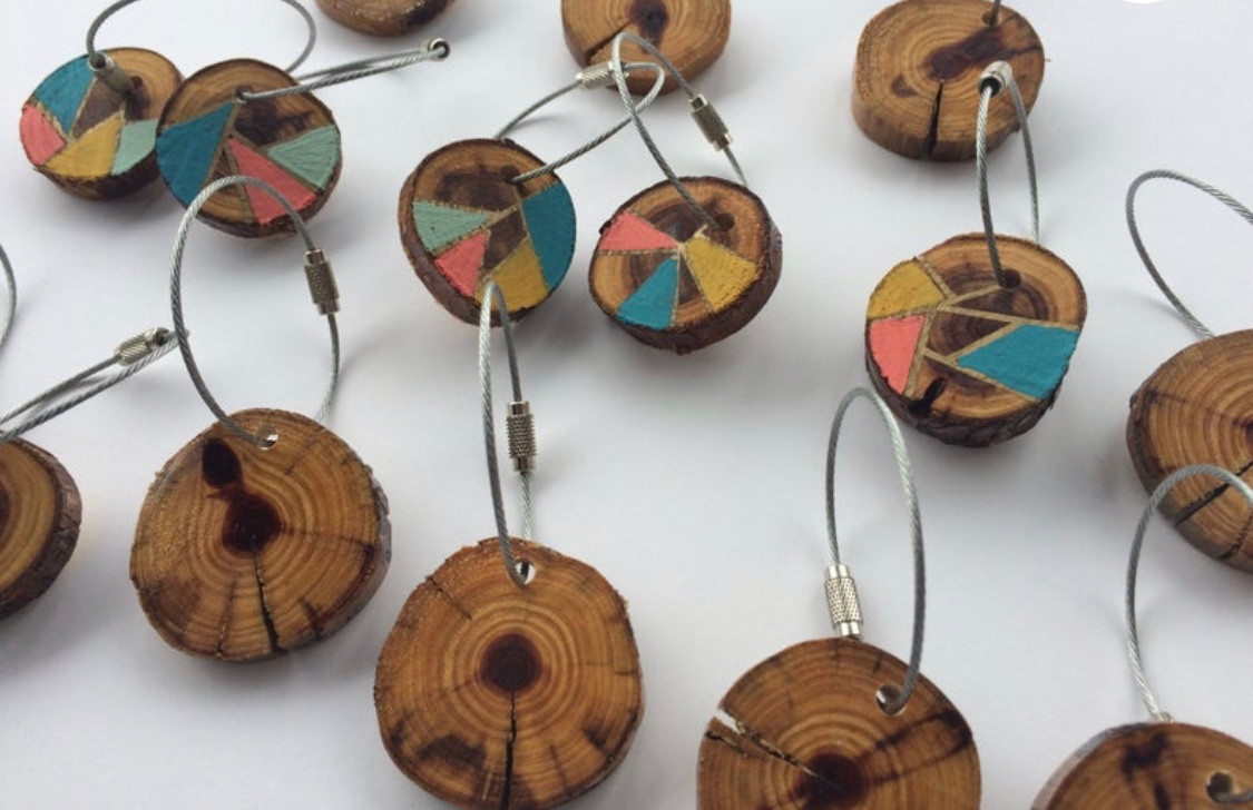 hand painted cedar wood slice keychains
