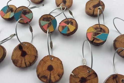 hand painted cedar wood slice keychains