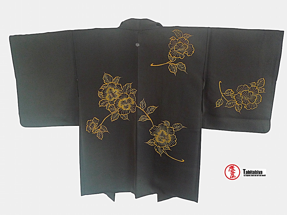 Haori, veste kimono, noir avec blason et motif sur tout le dos Tabitabiya boutique japonaise