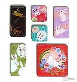 aimants décoratifs avec des motifs japonais de lapin