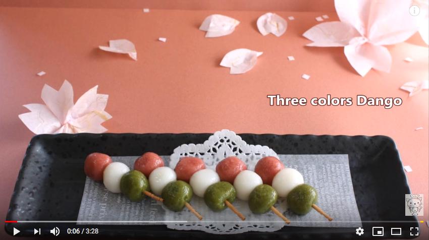 vidéo pour faire des sanshoku dango, dessert traditionnel japonais pour la fête des petites filles au Japon