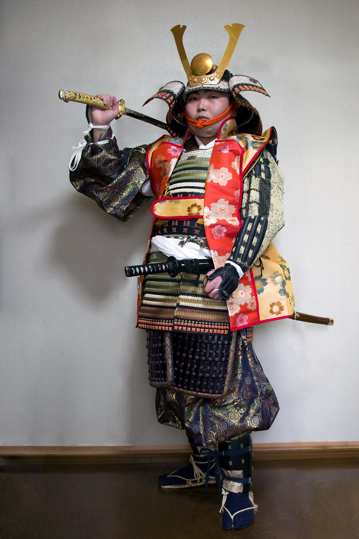 photo de samouraï avec son jinbaori sur son armure