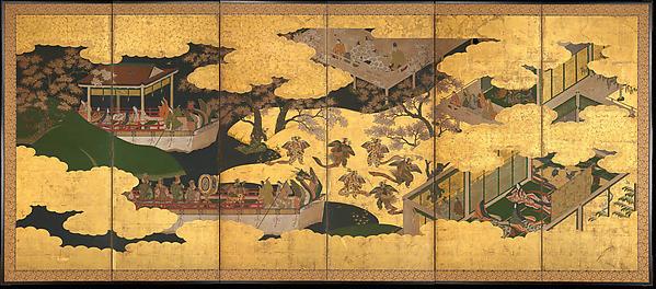 Ensemble de 6 panneaux illustrant le chapitre 24 du Dit du Genji de Murasaki Shikibu