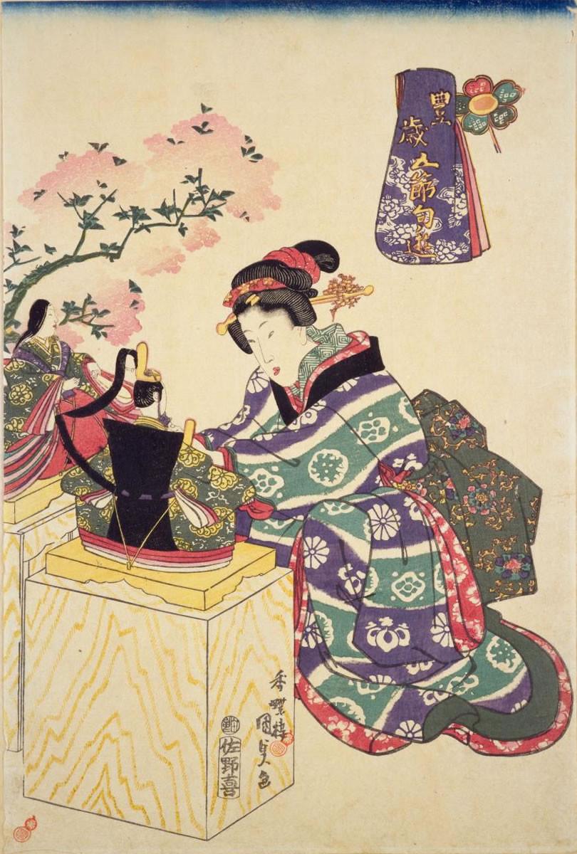 Estampe de Utagawa Kunisada sur le festival des pêchers momo-no-sekku à l'époque d'Edo