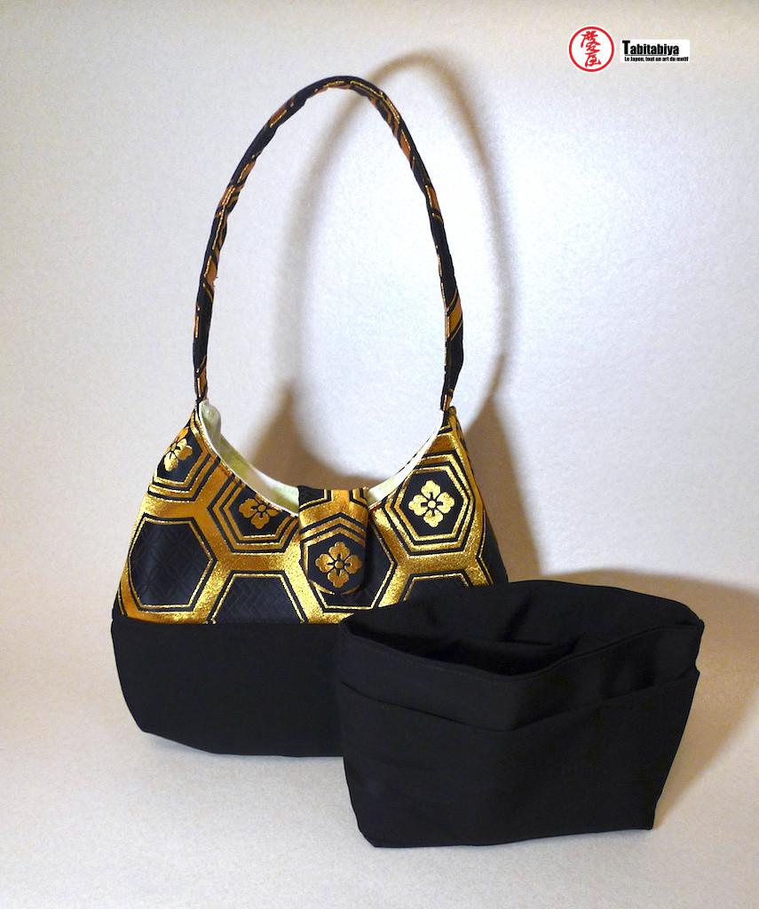 handmade bag with vintage Japanese fabric Tabitabiya