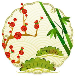 motif japonais de shōchikubai 松竹梅 pin bambou prunier