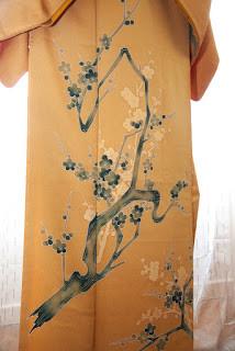 Motif de Eda-Ume Branche et fleurs de cerisiers sur un kimono