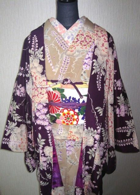Kimono et haori au motif de glycine