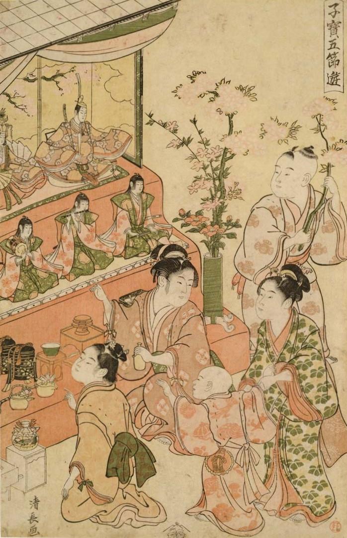 Estampe de Torii kiyonaga 鳥居 清長 qui illustre le festival des pêchers momonosekku à l'époque d'Edo au Japon