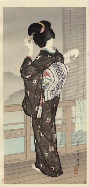 Estampe de Hirano Hakuho – Soirée de pluie à Beppu