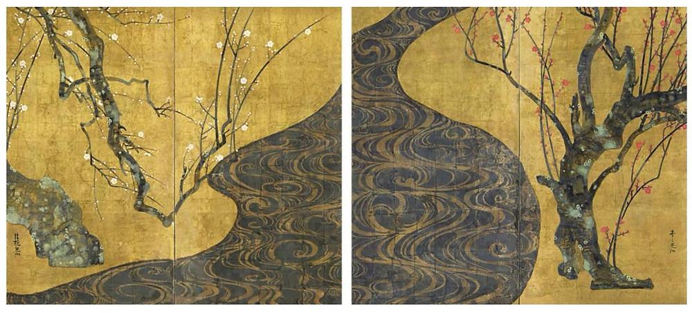 """Paire de paravents """"Prunus rouge et prunus blanc"""" 紅白梅図 d' Ogata Kōrin  尾形 光琳"""
