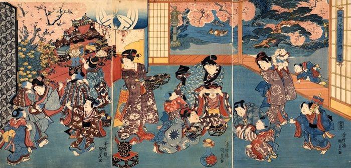 "Tableau en triptyque d' Utagawa kunisada 歌川国貞 tiré de la série ""Fashionable Ancient and Modern 12 Months / Third Month (Yayoi) 風流古今十二月ノ内 弥生"