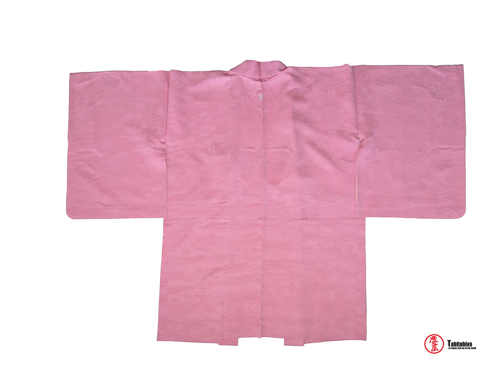 Iromujimontsukibaori, haori, veste kimono, de couleur uni avec blason Tabitabiya boutique japonaise