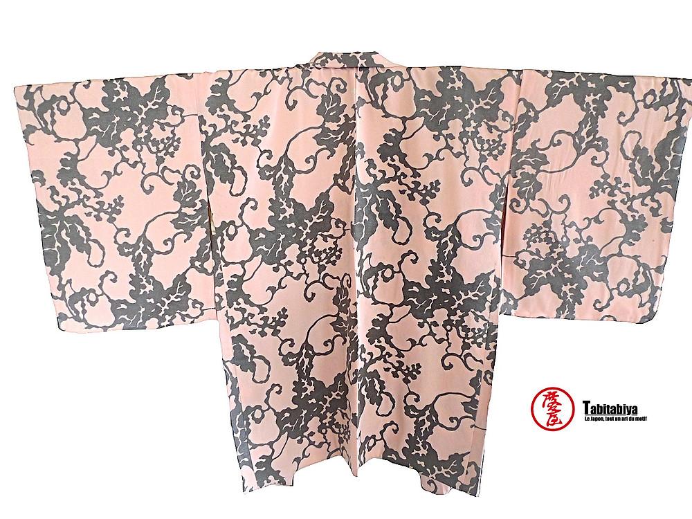 komonbaori, haori, veste kimono de style komon, motif karakusa, Tabitabiya boutique japonaise