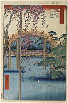 l'intérieur du sanctuaire Kameido Tenjin (1857), de la série Cent vues d'Edo de Utagawa Hiroshige