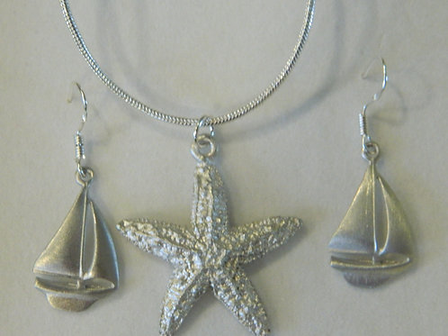 STARFISH NECKLACE/SAILBOAT SET