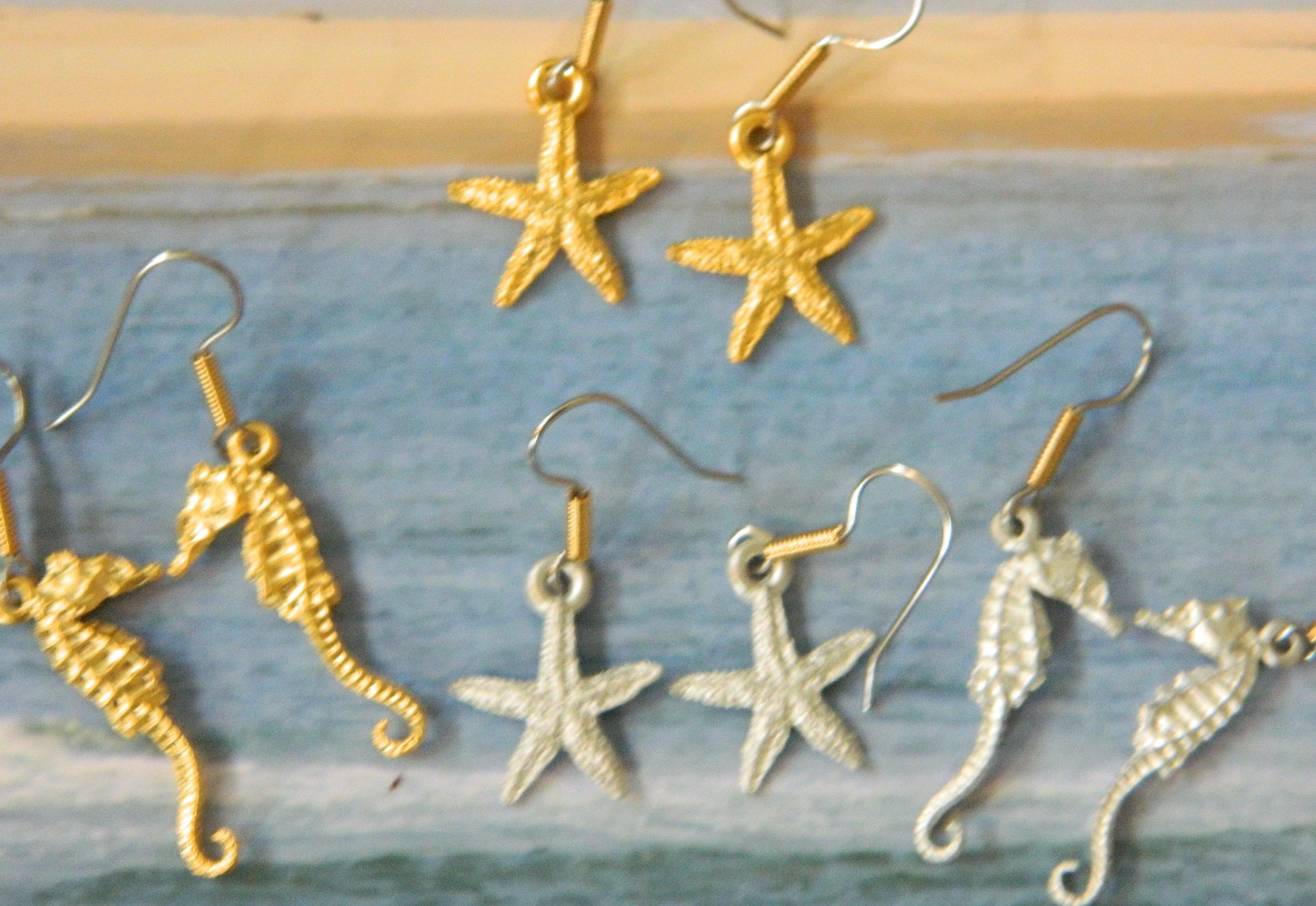 Mini Starfish and Seahorse Earrings