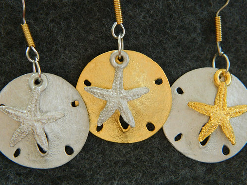 SAND DOLLAR/STARFISH EARRINGS OR NECKLACE