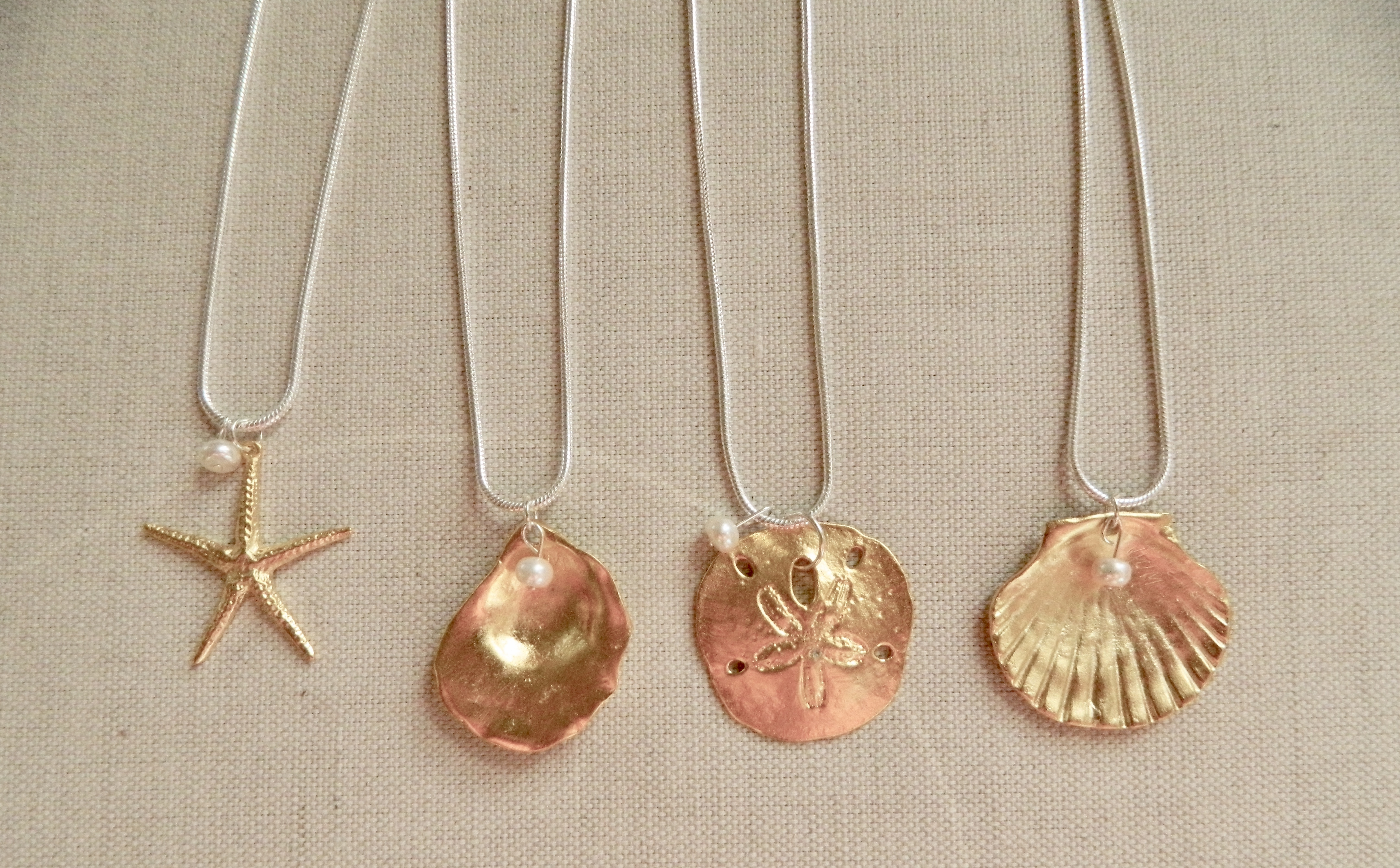 Gold Plate Pendants with Pearl