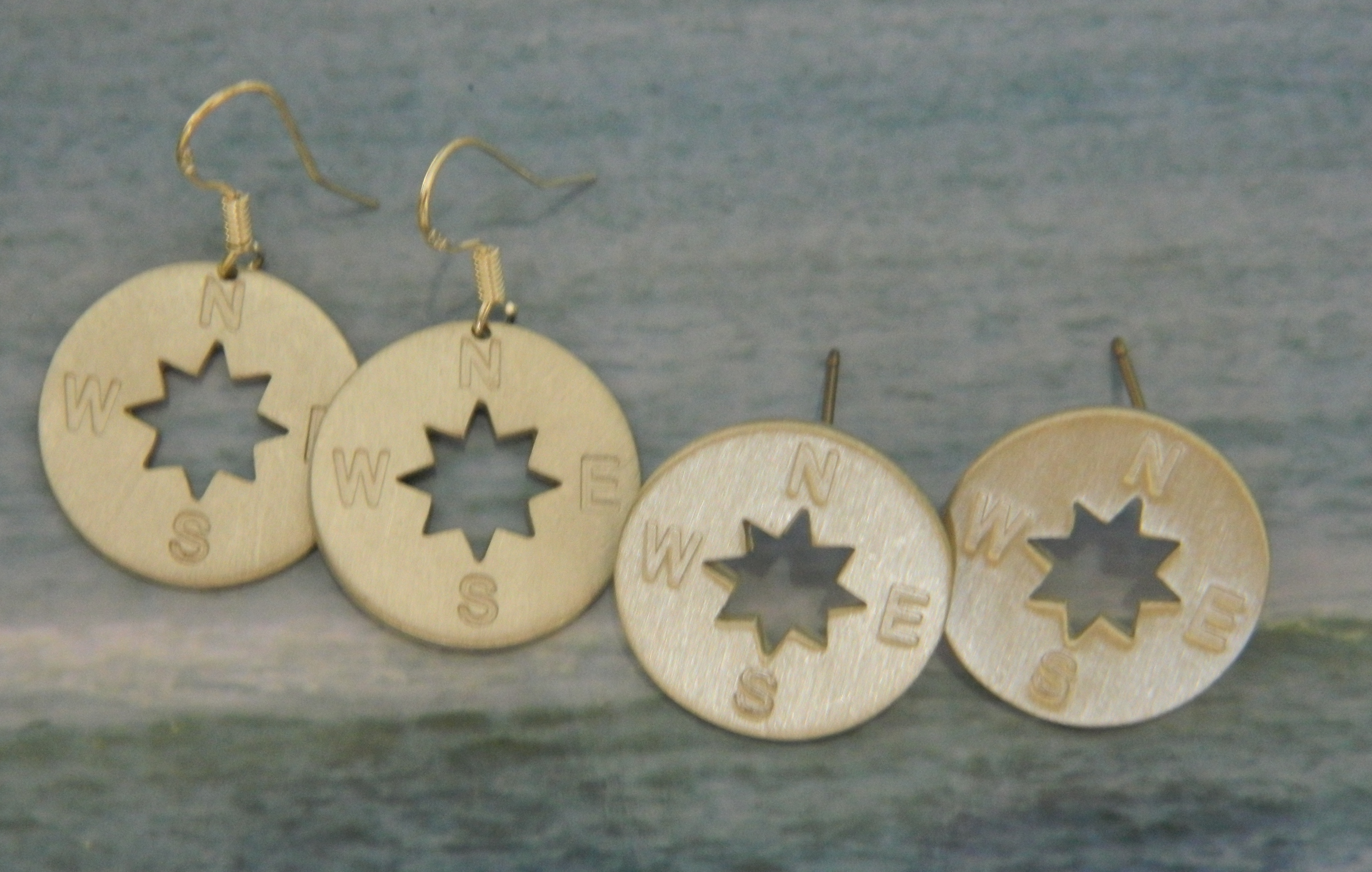 Pewter Compass Rose Earrings