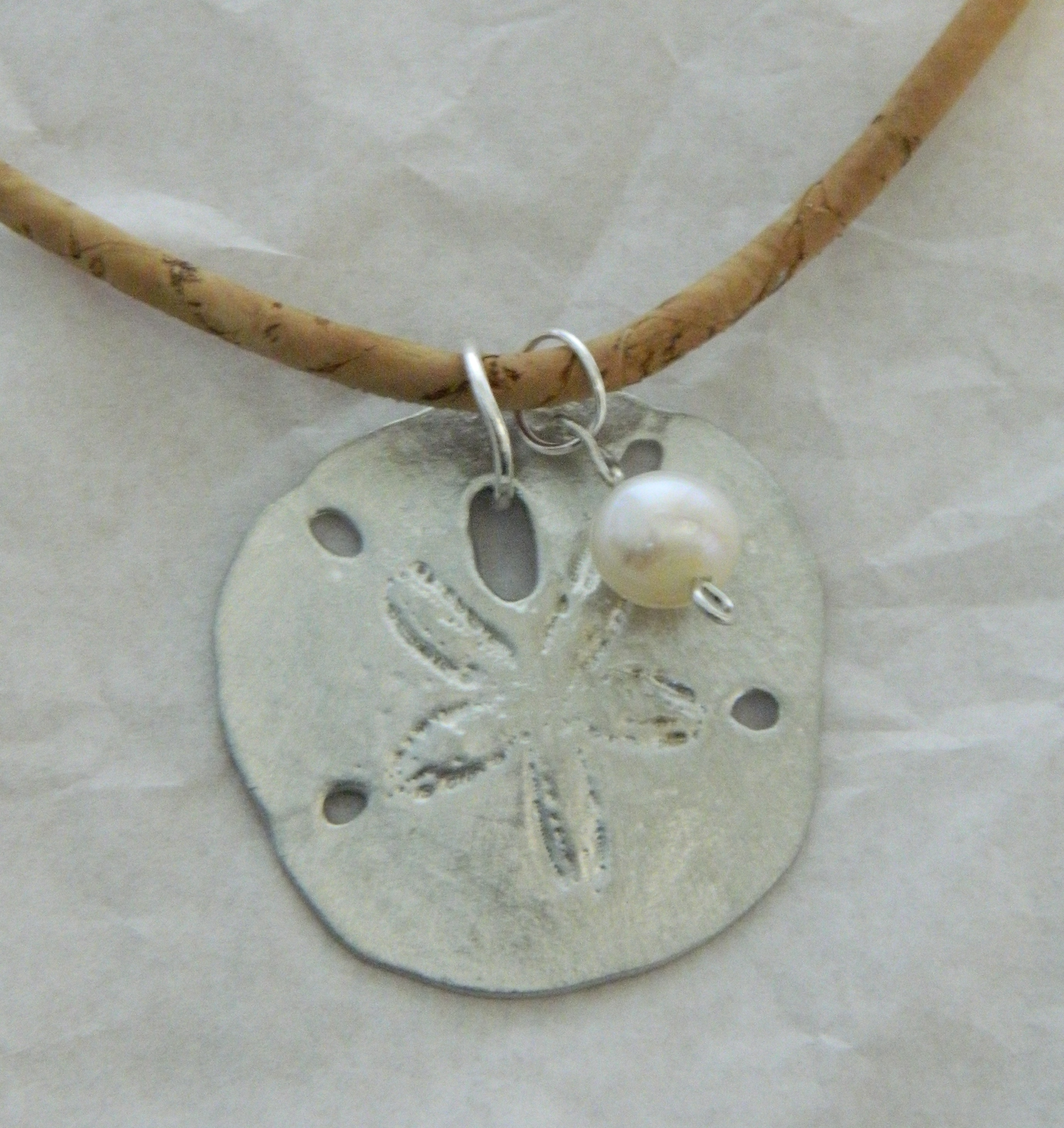Pewter Sand Dollar with Pearl
